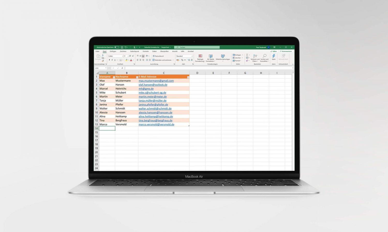 Kontakte per Excel-Liste importieren