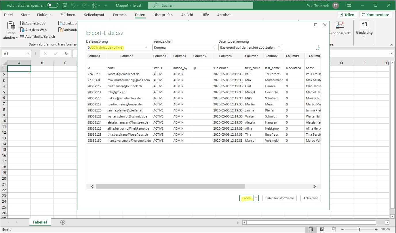eMailChef Kontakte exportieren - Dateiursprung definieren