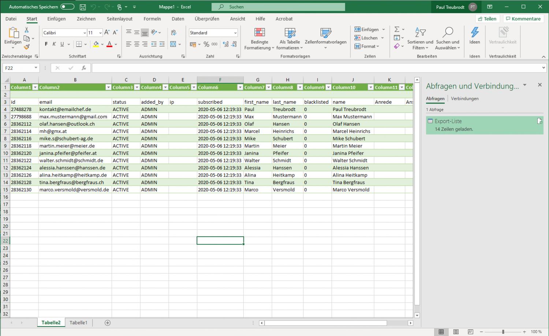 eMailChef Kontakte exportieren - Excel-Liste mit CSV Daten