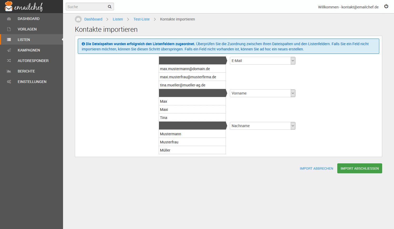 eMailChef Kontakte importieren: kopieren und einfügen - Felder zuweisen