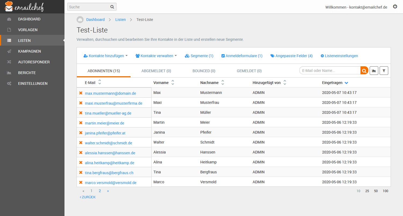 eMailChef Kontakte importieren: kopieren und einfügen - Übersicht Kontaktliste