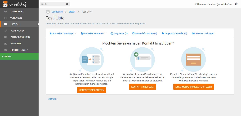 eMailChef Kontakte importieren - Liste Einzelansicht Import