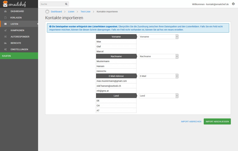 eMailChef Felder zuweisen