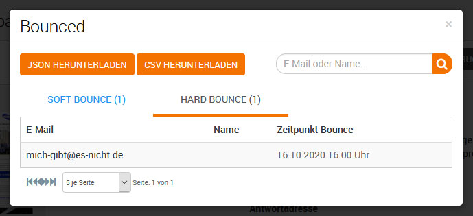 Hard Bounce - E-Mail