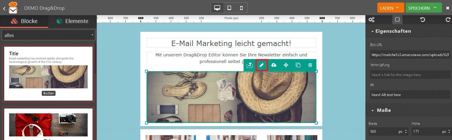 Bildbearbeitung Editor Newsletter eMailChef