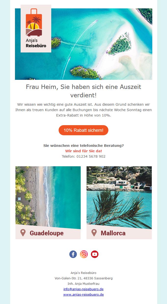 Newsletter Beispiel Anjas-Reisebüro