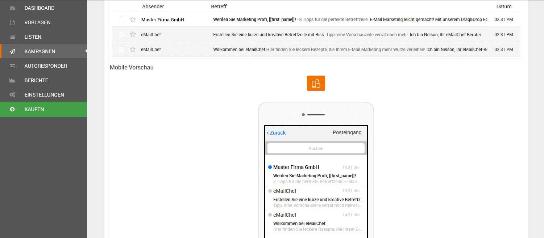 Vorschau der Betreff- und Vorschauzeile E-Mail Marketing