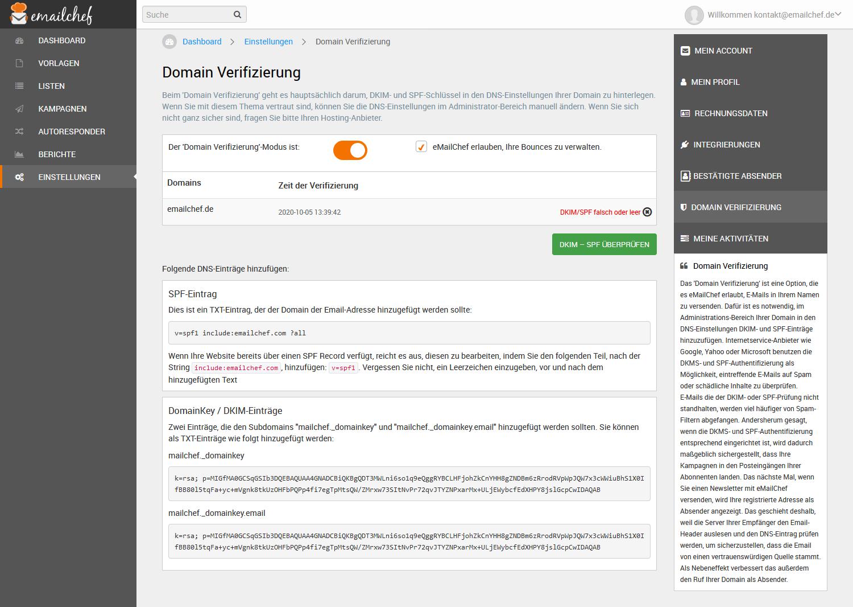 SPF & DKIM Einstellungen von eMailChef