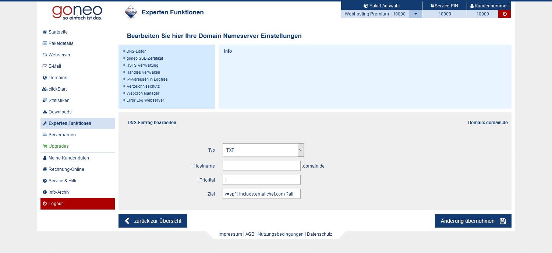 Anlegen eines SPF Eintrags, wenn kein bestehender vorhanden ist.